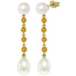 ALARRI 11 Carat 14K Solid Gold Pearly View Citrine Pearl Earrings