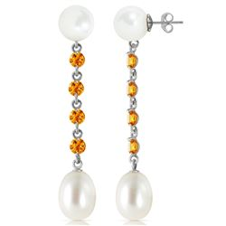 ALARRI 11 CTW 14K Solid White Gold Accordion Music Citrine Pearl Earrings