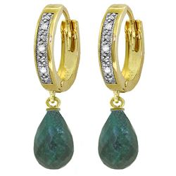 ALARRI 6.64 CTW 14K Solid Gold Hoop Earrings Diamond Emerald