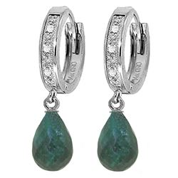 ALARRI 6.64 CTW 14K Solid White Gold Hoop Earrings Diamond Emerald