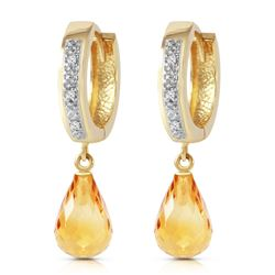 ALARRI 4.54 Carat 14K Solid Gold Tres Chic Blue Citrine Diamond Earrings
