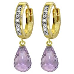 ALARRI 4.54 Carat 14K Solid Gold Tres Chic Amethyst Diamond Earrings