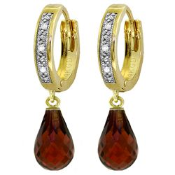 ALARRI 4.54 Carat 14K Solid Gold Tres Chic Garnet Diamond Earrings