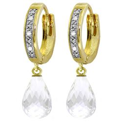 ALARRI 4.54 CTW 14K Solid Gold Hoop Earrings Diamond White Topaz