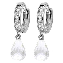 ALARRI 4.54 Carat 14K Solid White Gold Hoop Earrings Diamond White Topaz