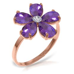ALARRI 14K Solid Rose Gold Ring w/ Natural Diamond & Purple Amethysts