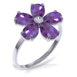 ALARRI 2.22 Carat 14K Solid White Gold Woven Into Spirit Amethyst Diamond Ring