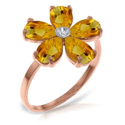 ALARRI 14K Solid Rose Gold Ring w/ Natural Diamond & Citrines