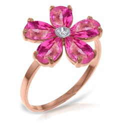 ALARRI 14K Solid Rose Gold Ring w/ Natural Diamond & Pink Topaz