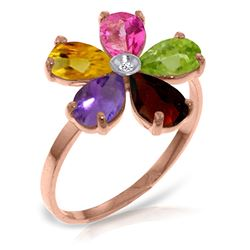 ALARRI 14K Solid Rose Gold Ring w/ Natural Diamond & Multi Gemstones