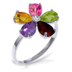 ALARRI 2.22 CTW 14K Solid White Gold Ring Natural Diamond Multi Gemstones