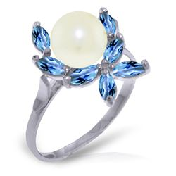 ALARRI 2.65 Carat 14K Solid White Gold Ring Natural Blue Topaz Pearl