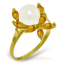 ALARRI 2.65 CTW 14K Solid Gold Ring Natural Citrine Pearl