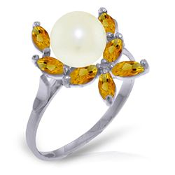 ALARRI 2.65 CTW 14K Solid White Gold Ring Natural Citrine Pearl