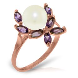 ALARRI 14K Solid Rose Gold Ring w/ Natural Amethysts & Pearl