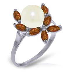 ALARRI 2.65 CTW 14K Solid White Gold Ring Natural Garnet Pearl