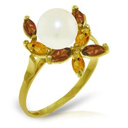 ALARRI 2.63 Carat 14K Solid Gold Ring Natural Garnet, Citrine Pearl