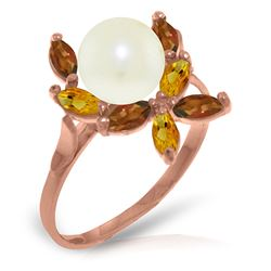 ALARRI 14K Solid Rose Gold Ring w/ Natural Garnets, Citrines & Pearl