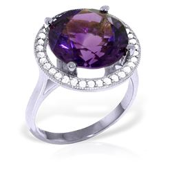 ALARRI 6.2 Carat 14K Solid White Gold Ring Natural Diamond Amethyst