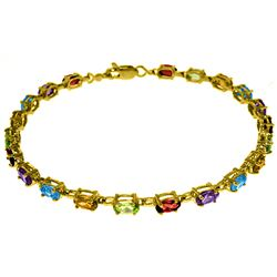 ALARRI 5.46 CTW 14K Solid Gold Tennis Bracelet Multi Gemstones