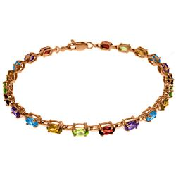 ALARRI 14K Solid Rose Gold Tennis Bracelet w/ Multi Gemstones