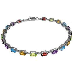 ALARRI 5.46 CTW 14K Solid White Gold Tennis Bracelet Multi Gemstones