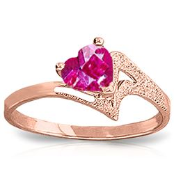 ALARRI 0.95 Carat 14K Solid Rose Gold Loveheart Pink Topaz Ring