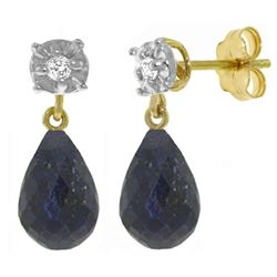 ALARRI 17.66 CTW 14K Solid Gold Stud Earrings Diamond Sapphire