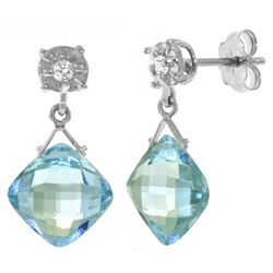 ALARRI 17.56 Carat 14K Solid White Gold Get It Started Blue Topaz Diamond Earings