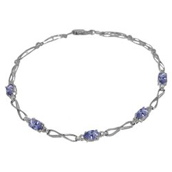 ALARRI 1.16 CTW 14K Solid White Gold Tennis Bracelet Tanzanite Diamond