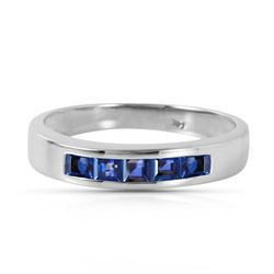 ALARRI 0.6 Carat 14K Solid White Gold Wind Blows Joy Sapphire Ring