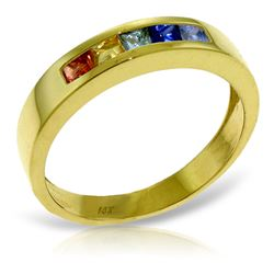 ALARRI 0.6 CTW 14K Solid Gold Rings Natural Multicolor Sapphire