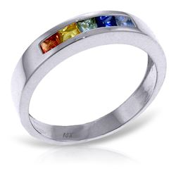 ALARRI 0.6 Carat 14K Solid White Gold Rings Natural Multicolor Sapphire