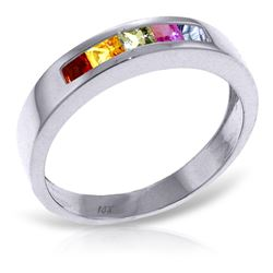 ALARRI 0.6 CTW 14K Solid White Gold Keep You Mine Multicolor Sapphire Ring