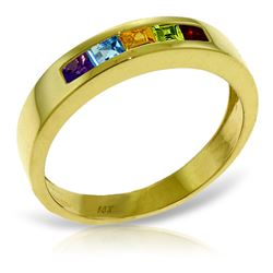 ALARRI 0.6 Carat 14K Solid Gold Rings Natural Multi Gemstones