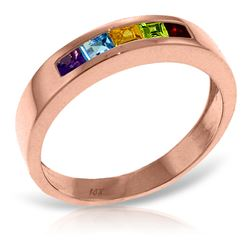 ALARRI 14K Solid Rose Gold Rings w/ Natural Multi Gemstones