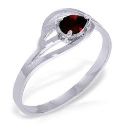 ALARRI 0.3 CTW 14K Solid White Gold Lifting The Heart Garnet Ring