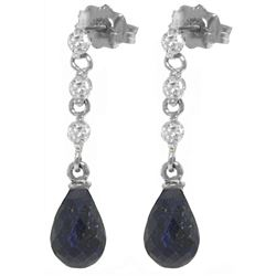 ALARRI 6.9 CTW 14K Solid White Gold Sing Me The Blues Sapphire Diamond Earrings