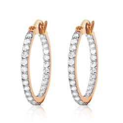 ALARRI 14K Solid Rose Gold Hoop Earrings w/ Natural Diamonds
