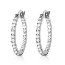 ALARRI 0.75 CTW 14K Solid White Gold Hoop Earrings Natural Diamond