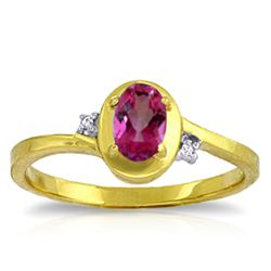 ALARRI 0.51 Carat 14K Solid Gold Rings Diamond Pink Topaz