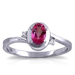ALARRI 0.51 CTW 14K Solid White Gold Rings Diamond Pink Topaz