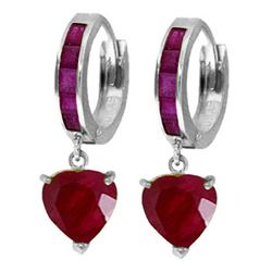 ALARRI 3.65 Carat 14K Solid White Gold Candlelight Ruby Earrings
