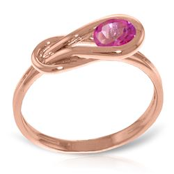 ALARRI 14K Solid Rose Gold Ring w/ Natural Pink Topaz