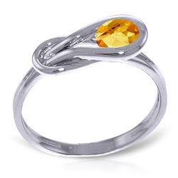 ALARRI 0.65 CTW 14K Solid White Gold Mother Courage Citrine Ring