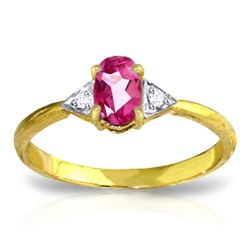 ALARRI 0.46 CTW 14K Solid Gold Farah Pink Topaz Diamond Ring