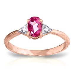 ALARRI 0.46 Carat 14K Solid Rose Gold Oval Pink Topaz Diamond Ring