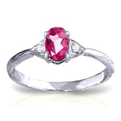 ALARRI 0.46 CTW 14K Solid White Gold World Won't Stop Pink Topaz Diamond Ring