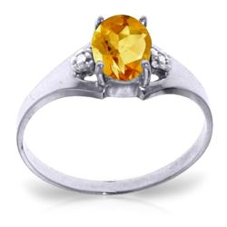 ALARRI 0.76 Carat 14K Solid White Gold Long To Stay Citrine Diamond Ring