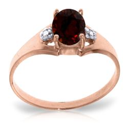 ALARRI 0.76 CTW 14K Solid Rose Gold Brilliance Garnet Diamond Ring